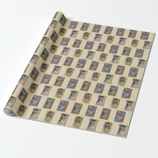 Papier d'emballage de manuscrit lumineux de papiers cadeaux noël