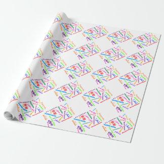 Papier d'emballage de merci de langues papier cadeau noël