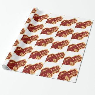 Papier d'emballage de motif d'automobile papier cadeau noël