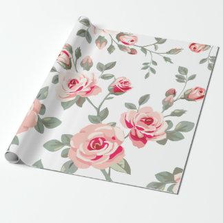 Papier d'emballage de motif de rose de vecteur papier cadeau