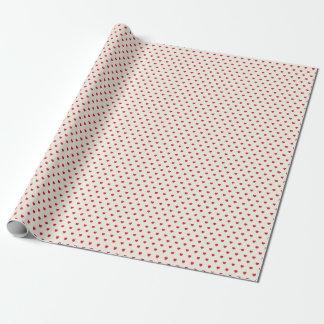 Papier d'emballage de motif rouge de coeurs papier cadeau