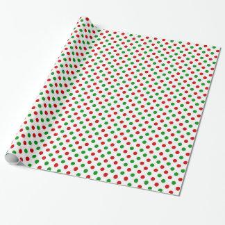 Papier d'emballage de Noël rouge et vert de pois Papier Cadeau Noël