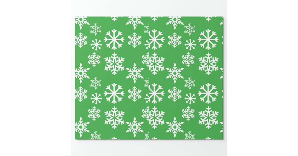 Papier d 39 emballage de no l vert de flocon de neige papier cadeau zazzle - Papier cadeau personnalisable ...