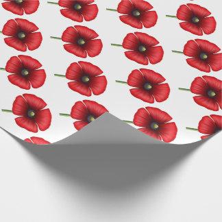 Papier d'emballage de pavot de tige simple rouge papier cadeau