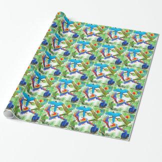 Papier d'emballage de perroquet de jungle d'ara papiers cadeaux
