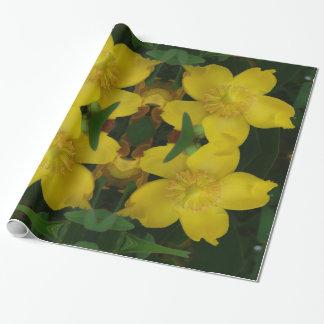 Papier d'emballage de photo jaune de fleur papier cadeau