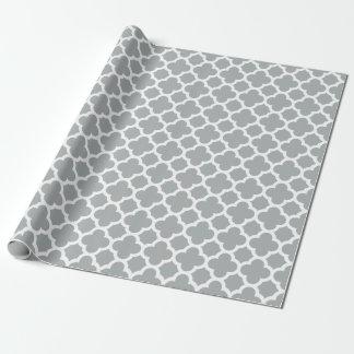 Papier d'emballage de Quatrefoil de motif gris de Papiers Cadeaux