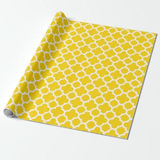 Papier d'emballage de Quatrefoil de motif jaune de Papier Cadeau Noël
