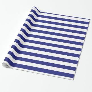 Papier d'emballage de rayures bleues et blanches papiers cadeaux noël