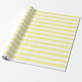 Papier d'emballage de rayures jaune pâle et papier cadeau