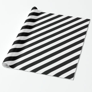 Papier d'emballage de rayures noires et blanches papier cadeau noël