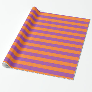 Papier d'emballage de rayures pourpres et oranges papiers cadeaux