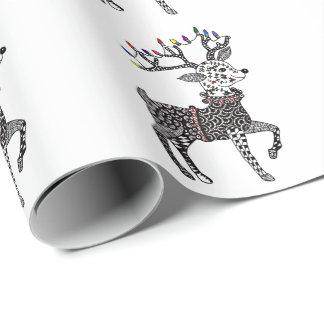 Papier d'emballage de renne de lumières de Noël Papiers Cadeaux Noël
