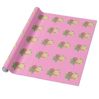 Papier d'emballage de toile de beaux roses papier cadeau