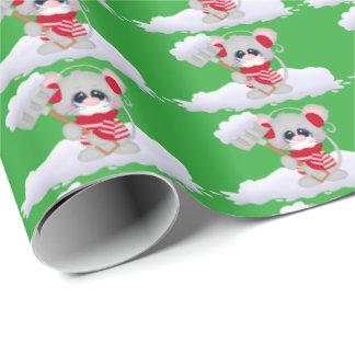 Papier d'emballage de vacances de souris de neige papier cadeau
