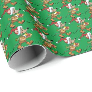 Papier d'emballage de vacances de souris de Noël Papier Cadeau