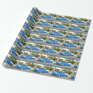 Papier d'emballage de voiture classique bleue papier cadeau