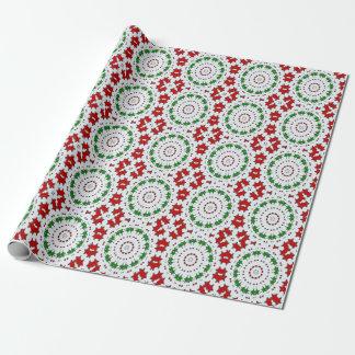 Papier d'emballage d'étoiles rouges de vert de papier cadeau