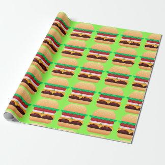 Papier d'emballage d'hamburger de pixel papier cadeau noël