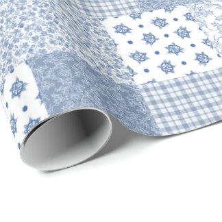 Papier d'emballage d'indigo de patchwork papier cadeau noël