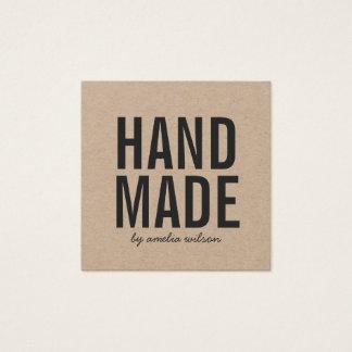 Papier d'emballage fait main rustique élégant carte de visite carré