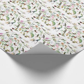 Papier d'emballage floral de fleurs d'oiseaux de papier cadeau noël