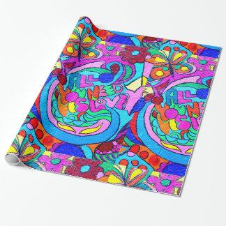 papier d'emballage hippie de paix et d'amour des papier cadeau