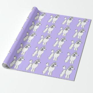 Papier d'emballage lilas blanc de caniches papier cadeau noël