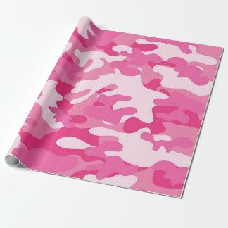 Papier d'emballage mat de camouflage rose papier cadeau