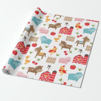 Papier d'emballage mignon d'animaux de ferme papier cadeau