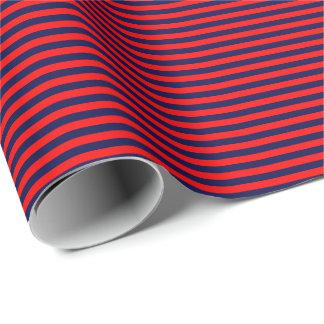 Papier d'emballage mince de rayures de bleu marine papiers cadeaux