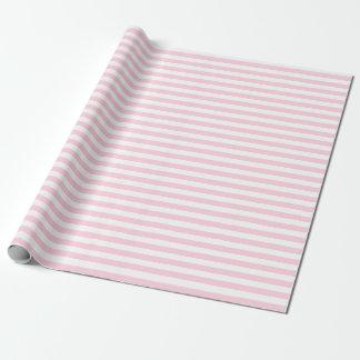 Papier d'emballage moyen de rayures rose-clair et papier cadeau