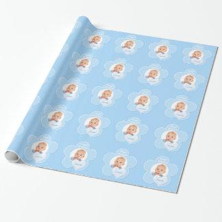 Papier d'emballage personnalisé de photo bleue de papiers cadeaux noël