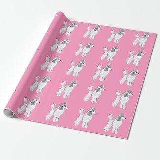 Papier d'emballage rose blanc de caniches standard papiers cadeaux noël