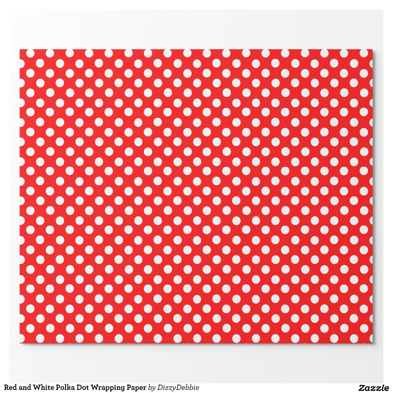 papier d 39 emballage rouge et blanc de point de papiers cadeaux zazzle. Black Bedroom Furniture Sets. Home Design Ideas