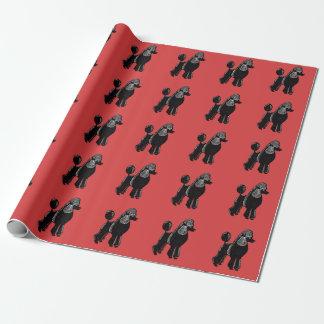 Papier d'emballage rouge noir de caniches standard papiers cadeaux noël