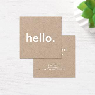 Papier d'emballage rustique minimaliste bonjour carte de visite carré