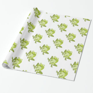 Papier d'emballage sautant vert heureux de papier cadeau