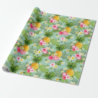 Papier d'emballage tropical d'ananas floral rose papier cadeau noël