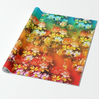 Papier d'emballage turquoise orange et de rouge de papier cadeau
