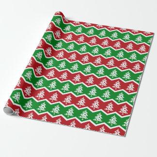 Papier d'emballage vert rouge vintage de Joyeux Papier Cadeau
