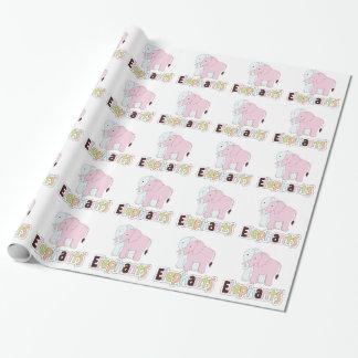 Papier en pastel d'emballage cadeau d'éléphants papier cadeau