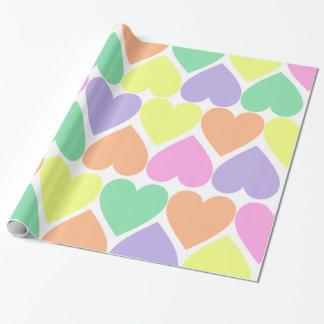 Papier en pastel d'enveloppe de cadeau de coeurs papiers cadeaux noël