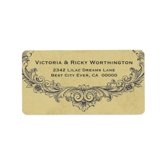 Papier fleuri vintage de mariage d'arrière - plan étiquettes d'adresse