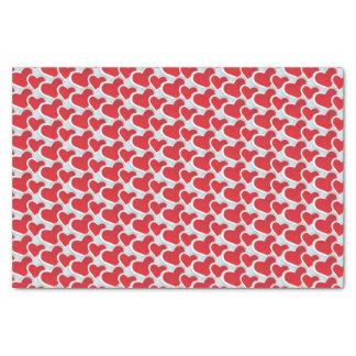 Papier Mousseline 2 coeurs de papier rouges dans un motif de