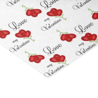 Papier Mousseline Aimez mes fleurs rouges de coeur de Valentine