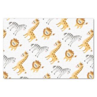 Papier Mousseline Animaux mignons de bébé de lion et de girafe de