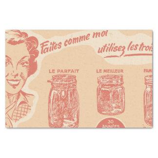 Papier Mousseline Annonce française vintage pour des pots de maçon