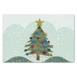 Papier Mousseline Arbre de Noël avec l'étoile, les ampoules et la