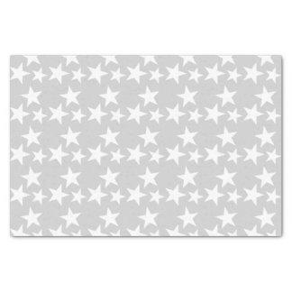 Papier Mousseline Argent avec les étoiles blanches